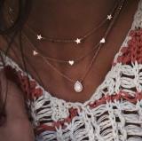 欧美流行时尚个性多层五角星桃心爱心满钻水滴项链