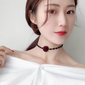 韩国简约个性百搭花朵短款锁骨链颈带