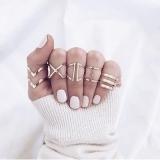 欧美新款合金交叉指关节几何形五件戒指套装