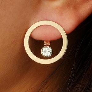 欧美新款夸张时尚个性几何圆圈水钻后挂耳钉