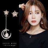 S925银针韩国简约不对称星月长款气质耳钉