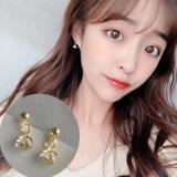 韩国气质chic风少女锆石精致超闪小樱花蕊耳钉