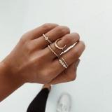 欧美简约气质月亮合金细戒指环组合五件套指环