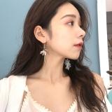 韩版不对称花朵长款森系文艺耳环
