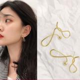 韩国金属线条小众气质个性冷淡风耳钉