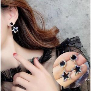 S925银针韩国气质简约黑色星星几何圆圈耳钉