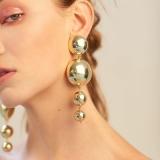 欧美大牌个性时尚流行圆形圆珠圆球长款耳钉