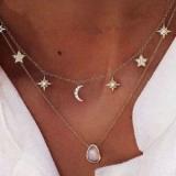 欧美简约宝石吊坠五角星镶钻双层项链