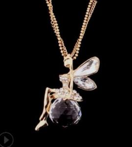 欧美新款水晶球天使吊坠镶钻长款闪钻项链