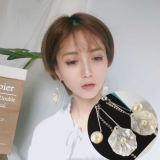 韩国新款ins风贝壳造型珍珠清新仙女闪钻流苏耳环