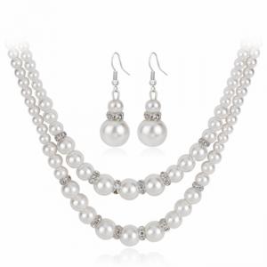 欧美时尚多层珍珠项链耳环两件套项饰合金镶钻套装