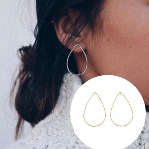 欧美铜质水滴形极简个性耳钉
