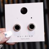 S925银针韩国气质个性百搭设方块圆圈小众网红耳钉