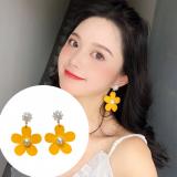 韩国爆款泫雅风时尚黄色花朵简约珍珠气质网红耳钉