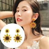 韩国太阳花黄色大花朵气质夸张夏天清新百搭耳环女