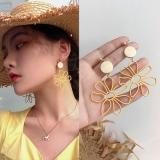 韩国个性镂空花朵木头复古长款耳环