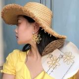 韩国简约超仙少女镂空大花朵珍珠耳钉