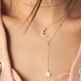 欧美流行时尚个性月亮五角星多层女式组合项链