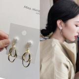 韩国贝壳珍珠不规则金属几何极简风小清新耳钉