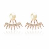 欧美珍珠朋克风尖锥满钻珍珠耳钉