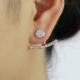 欧美满钻一字圆前后式时尚简约潮流外贸爆款耳钉