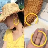 韩国百搭网红冷淡风黄色圆圈耳钉