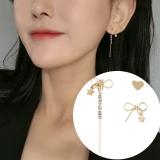 韩国时尚三件套个性不对称流苏微镶锆石蝴蝶结爱心耳钉