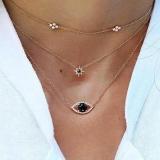 欧美时尚几何六芒星黑钻眼睛镶钻链条三层锁骨链
