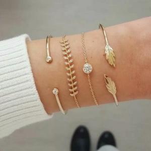 欧美流行新款时尚树叶四件套手镯手链