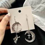 韩国哥特朋克复古月亮丘比特天使十字架组合长款耳环