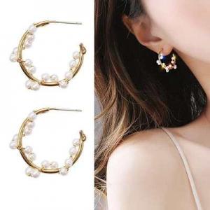 韩国优雅法式高级感珍珠绕线小众C形耳环
