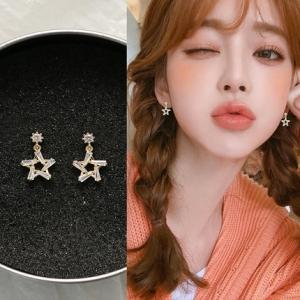 S925银针韩国女气质个性简约百搭短发五角星精致小耳钉