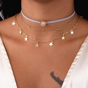 欧美跨境多层星星绒布切片五角星女士锁骨链