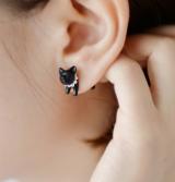 韩国个性珍珠穿刺黑色小猫耳钉(单只包)