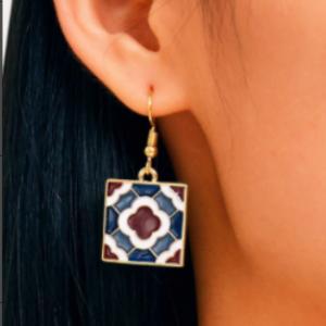 韩国原创设计复古波西米亚瓷砖气质百搭简约耳环
