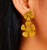 韩国喷漆黄色女花朵气质耳钉