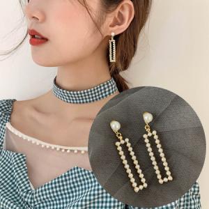 韩国高级感法式方块珍珠款潮时尚网红耳钉