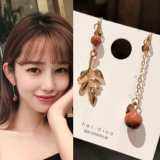 【11-20左右】韩国简约个性不对称森女系复古风树叶耳夹