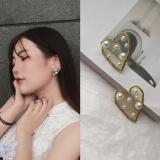 韩国爱心镶嵌珍珠时尚网红2019新潮耳钉