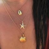 欧美时尚流行海滩街拍合金贝壳海星扇贝多层女项链