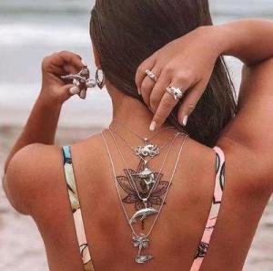 欧美个性夸张沙滩系列美人鱼 鲨鱼 章鱼多层项链女