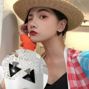 韩国气质黑色三角形复古简约2019新款潮耳钉