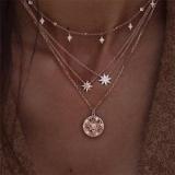 欧美新款女士满钻星星多层项链