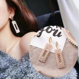 韩国网高级感珍珠女神长款气质长方形耳钉