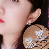 韩国甜美水钻蝴蝶结耳钉