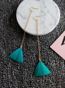 韩国新款创意手工三角羽毛耳环长款链条耳环(单只包)