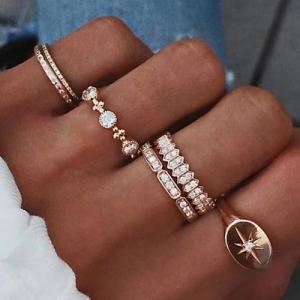 欧美wish复古镶钻六芒星指南针戒指套装六件套