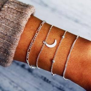 欧美速卖通wish新款月亮吊坠珠链手链四件套