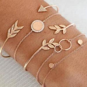 欧美跨境个性时尚镶钻箭头树叶金属5件套手链手镯