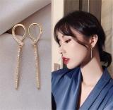 S925银针韩国新款气质轻奢高级感满钻长条几何耳钉